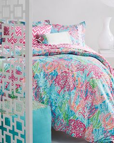 Lilly Pulitzer® Perfectly Printed Percale Bedding Collection and Sister Florals Duvet Collection.