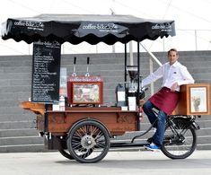 Mobile Coffee Cart, Mobile Food Cart, Coffee Cafe, Coffee Shop, Food Cart Design, Bike Food, Food Truck Business, Coffee Facts, Smoke Grill