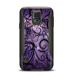The Violet with Black Highlighted Spirals Samsung Galaxy S5 Otterbox Commuter Case Skin Set from Design Skinz, INC.