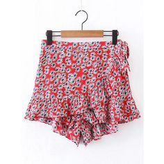SheIn(sheinside) Ditsy Print Ruffle Layered Skirt Shorts ($17) ❤ liked on Polyvore featuring shorts, red, floral shorts, floral printed shorts, red shorts, flower print shorts and floral print shorts
