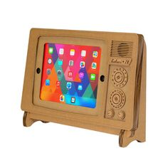 The Safari TV Cardboard iPad® Stand will add some retro style to your modern set-up. The Safari TV is made of environmentally friendly, recycled cardboard.