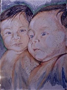 Art by Ramiro Ordonez Watercolor Painting    Title: Twins