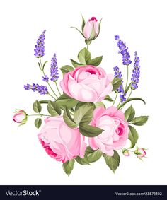 Spring flowers bouquet of color bud garland label Vector Image Spring Flower Bouquet, Spring Flowers, Bouquet Flowers, Wedding Flowers, Lavender Flowers, Fake Flowers, Flowers Garden, Wild Flowers, Beautiful Flowers