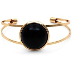Black Stone Gold Cuff Bracelet ($8.76) ❤ liked on Polyvore featuring jewelry, bracelets, accessories, rings, yellow gold jewelry, gold jewellery, gold cuff bangle bracelet, stone bangles and gold cuff bangle