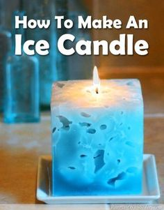 DIY Ice Candle - Ice Candles are amazing to look at and even more fun to make. You pour hot wax right over ice cubes! The ice melts away and leaves holes inside the candle. Cool!