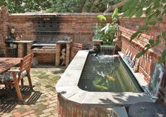 Lovely Koi Pond decorating ideas for Stunning Patio Eclectic design ideas with brick brick bbq brick oven brick patio brick wall old brick outdoor