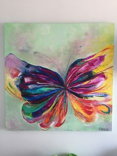 Palette knife butterfly painting. Amazing colors! Mariposa en acrílico y óleo con texturas. 1m x 1m