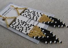 Seed Bead Native American Style Beaded Chain Earrings by pattimacs, $20.00
