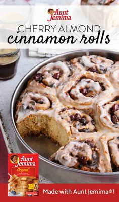 Whip up a batch of Cherry Almond Cinnamon Rolls using Aunt Jemima® Original mix this weekend! Brunch Recipes, Sweet Recipes, Breakfast Recipes, Dessert Recipes, Savoury Recipes, Bread Recipes, Just Desserts, Delicious Desserts, Yummy Food