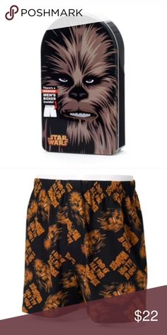 "StarWars chewbacca boxers and tin Product Details These men's boxers, in a decorative tin, are perfect for any Star Wars fan.  PRODUCT FEATURES Star Wars Chewbacca graphic & ""I Did It All For The Wookiee"" text Elastic waistband Button fly Packaged in decorative tin for gift-giving FABRIC & CARE Cotton Machine wash Underwear & Socks"