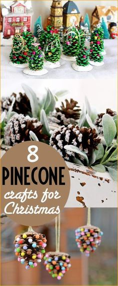 8 Pinecone projects for Christmas.  Decorate and celebrate the holidays with these creative pinecone crafts.