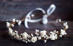 White bridal flower crown Woodland wedding by LuckyKidsHandmade