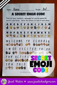Back to School Science Activities ★ Emojis ★ Secret Emoji Code by Jewel Pastor (TpT) ★ A Secret Emoji Code contains a secret code activity that can come handy during the first day of a new school year in a science/STEM/STEAM classroom. You get two kinds of sheets: one that has the secret message in code and another that has the answer key. The answer key can be shown to the students through the interactive whiteboard. Click through to buy it today on TeachersPayTeachers! | Emoji Activities