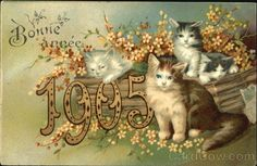 Bonne Annee 1905 New Year's Cats