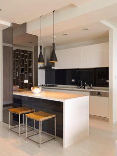 Black white kitchen island
