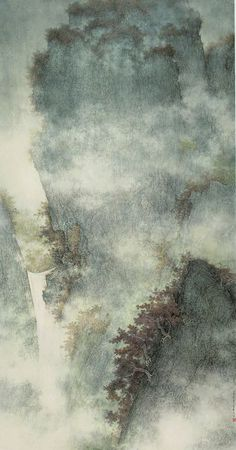Li Huayi(李 華弌 Chinese/American, Waterfall in Ravine 2009 Ink and color on paper Asian Landscape, Chinese Landscape Painting, Japanese Painting, Chinese Painting, Chinese Art, Japanese Art, Landscape Paintings, Art Chinois, Art Japonais