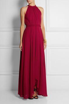 Saloni Irina pleated chiffon maxi dress