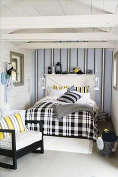 The wallpaper comes from Midbec but has been discontinued.  Bed headboard, like the interior walls and ceiling made S. ..