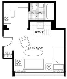 Small Apartment Kitchen Floor Plan studio apartment floor plans | someday | pinterest | studio