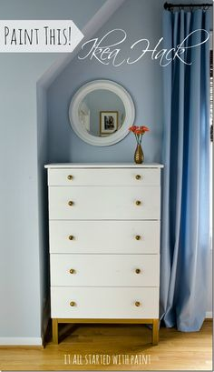 IKEA Tarva Dresser transformation with gold & white paint