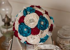 Carnival inspired  Bridal Bouquet, Vintage Inspired Fabric and Brooch Wedding Bouquet