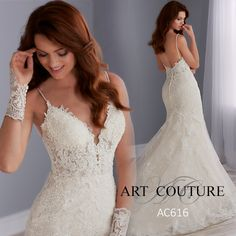 This mermaid and lace wedding dress features plunging neckline with a masterfully beaded bodice. Complete with beaded spaghetti straps and a scoop back that is trimmed with lace. Finished with covered buttons over zipper closure.