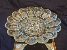 Vintage Indiana Hobnail Pressed Glass Deviled Egg Platter, Heavy Thick Glass,Sparkles in the light, Holds 15 eggs Deviled Egg Platter, Deviled Eggs, Vintage Decor, Vintage Items, Mantle Piece, Antique Glassware, Indiana Glass, Crystal Collection, Vintage Dishes