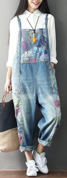 Casual Loose Print Strap Pocket Denim Jumpsuit For Women #Jumpsuit #Denim