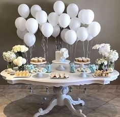 Baptism decoration ideas boy baptism party decor dessert table baptism decoration ideas party for girl . Baby Shower Themes, Baby Boy Shower, Baby Shower Balloon Ideas, Boy Baby Showers, Baby Shower Table Set Up, Simple Baby Shower, Shower Ideas, Baptism Party Decorations, Baby Boy Christening Decorations