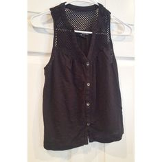 Express Tank Black button up with crochet shoulders Express Tops Tank Tops