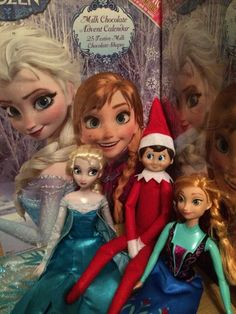 2014 - Day 3: Loki wants to build a snowman. Loki is hanging out with Elsa and Anna from Frozen and has brought the girls their Frozen advent calendars #OurElfOnTheShelf #ElfOnTheShelf #ElfOnTheShelfIdeas