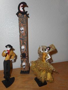 Day of the Dead Flamenco Dancers Sugar Skull Crypt Handmade Unique Artwork