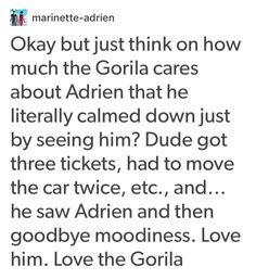 Gorilla is better than Adrian's real dad