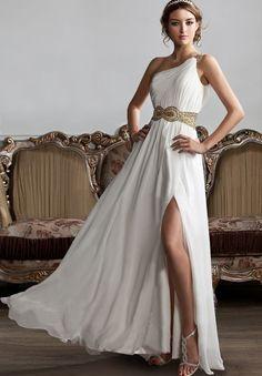 Chiffon One-Shoulder Column Long Prom Dress. i like it i like it i like iiiittt (::