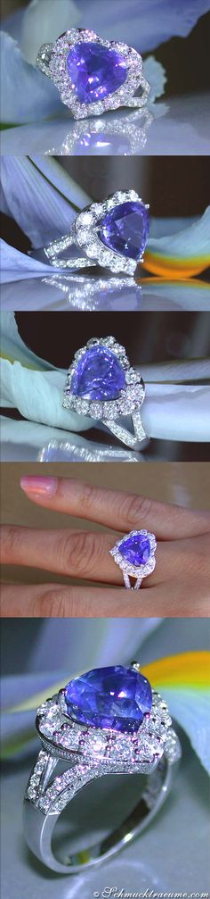 Gorgeous Tanzanite Diamond Heart Ring, 7,09 cts. WG18K - Visit: schmucktraeume.com - Like: https://www.facebook.com/pages/Noble-Juwelen/150871984924926 - Mail: info@schmucktraeume.com