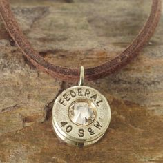 40 Caliber Bullet Casing Necklace - Champagne Crystal