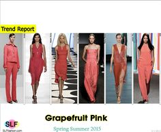 Trendy Colors for SS 2015: Grapefruit Pink (autumn shades).  Araks, Reem Acra, Nicole Miller, Tracy Reese, Jason Wu,ICB Spring Summer 2015.