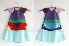 rainbow #courtneycourtney #eco #upcycled #recycled #repurposed #tshirt #vintage #dress #girls #unique #clothing #ooak #designer #upscale #rainbow #tiedye #colorful #flutter