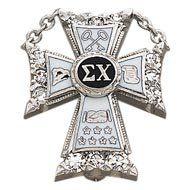 Sigma Chi All Diamond Badge 10K white gold.