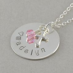 Hand Stamped Name Necklace little girls by SixSistersBeadworks, $42.00