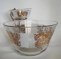 Vintage Chip and Dip Bowl set with Gold by LittleShopTreasures, $24.99    Don't like chips? Layer fresh fruit or vegetables in this bowl set and top with your favorite dip. How elegant for the holidays!