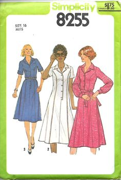 Simplicity 8255 Misses Shirt Dress Pattern, Look Slimmer, Size 16, UNCUT by DawnsDesignBoutique on Etsy