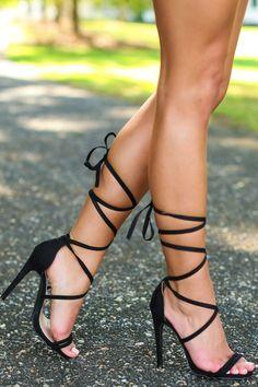 Ooh La La Black Lace-Up Heels at reddressboutique.com #blackhighheelslace