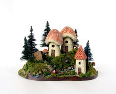 Crossing Over - Traveler to a Fairy World  - Miniature Landscape with Mushroom Houses, Trees and Stream by Bewilder and Pine. $49.00, via Etsy.