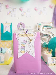 etiquetas para fiesta unicornios