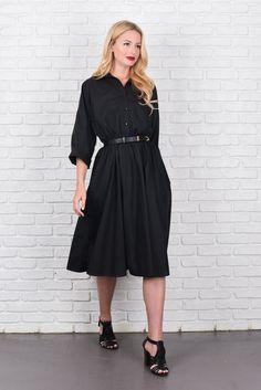 Vintage 80s Black Shirt Dress Retro Shirtdress by thekissingtree