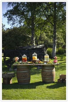 maybe use an old door or gate and create it into a table for signing of the marriage certificate