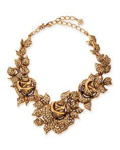 JC100 2014 New Arrived Gold Carved Golden Rose Necklace Rosy Leafy Crystal Bib Necklace Oscar Fashion Design Free Shipping