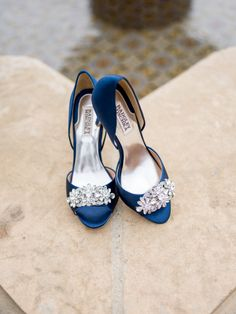 Navy blue jewel encrusted Badgley Mischka shoes: http://www.stylemepretty.com/california-weddings/ojai/2016/01/24/elegant-colorful-ojai-wedding/ | Photography: Michael + Anna Costa - http://www.michaelandannacosta.com/