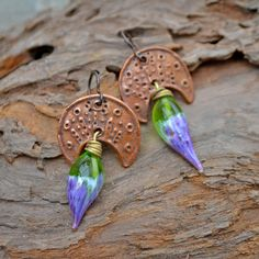 Mayan Headdress Handmade Original Texture Copper Crescent with amazing Lampwork Headpins in a gorgeous combination of Purple and Green. @KristiBowmanDesign.com